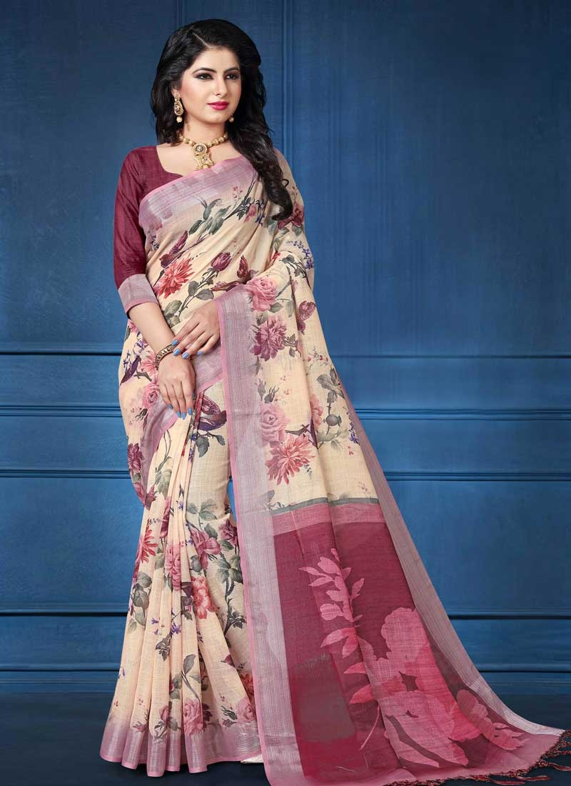 Cream and Crimson Linen Traditional Designer Saree