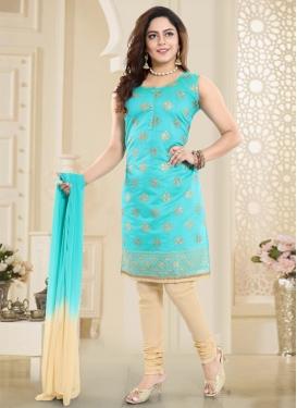 Cream and Firozi Chanderi Silk Readymade Churidar Suit