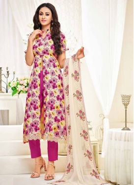Cream and Fuchsia Pant Style Salwar Kameez