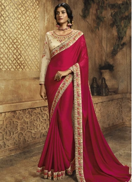 Cream and Fuchsia Satin Silk Trendy Classic Saree