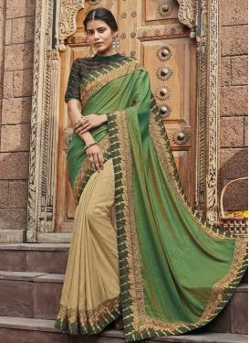 Cream and Green Art Silk Half N Half Trendy Saree