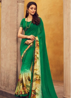 Cream and Green Digital Print Work Designer Contemporary Style Saree