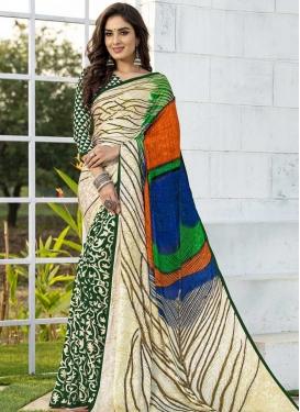 Cream and Green Jacquard Silk Designer Half N Half Saree