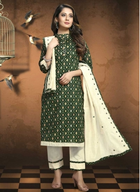 Cream and Green Lace Work Pant Style Pakistani Salwar Kameez