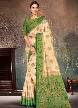 Cream and Green Nylon Silk Designer Contemporary Style Saree For Ceremonial