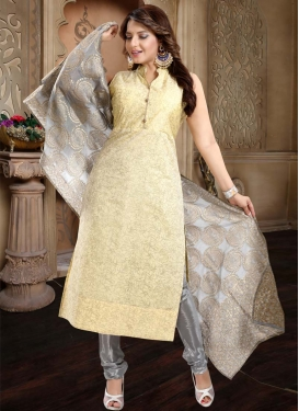 Cream and Grey Readymade Churidar Salwar Kameez For Ceremonial