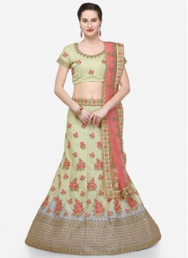 Cream and Grey Satin Silk A Line Lehenga Choli