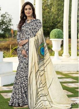 Cream and Grey Traditional Designer Saree For Casual