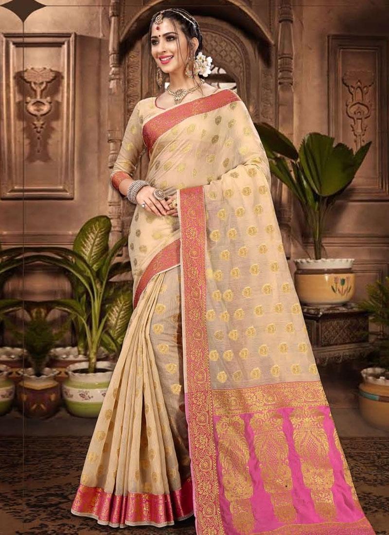 Cream and Hot Pink Designer Contemporary Saree