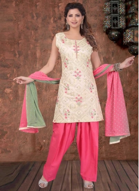 Cream and Hot Pink Embroidered Work Readymade Salwar Suit