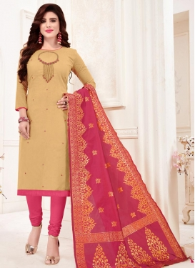 Cream and Hot Pink Trendy Churidar Salwar Suit
