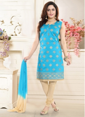 Cream and Light Blue Readymade Churidar Salwar Kameez For Ceremonial