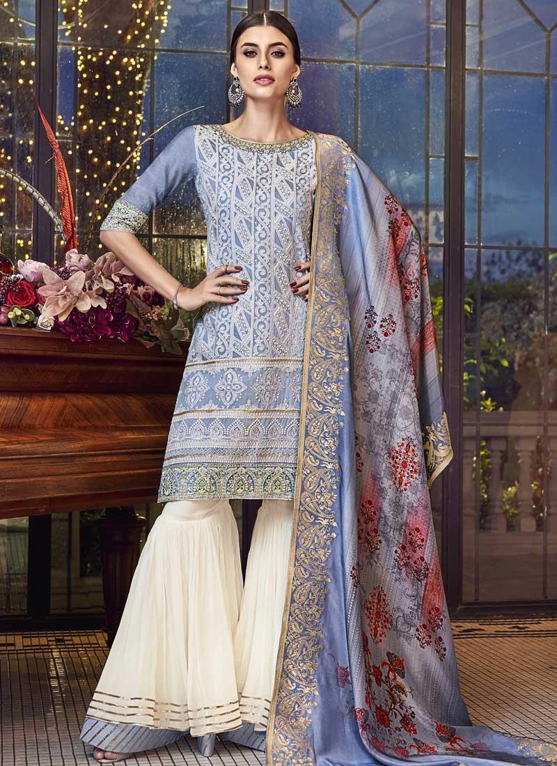Cream and Light Blue Sharara Salwar Kameez