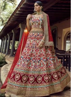 Cream and Maroon Art Silk Trendy Designer Lehenga Choli For Bridal