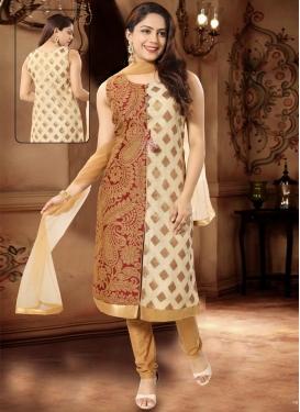 Cream and Maroon Brocade Readymade Churidar Salwar Suit
