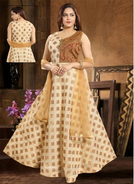 Cream and Maroon Cream and Maroon Readymade Designer Gown