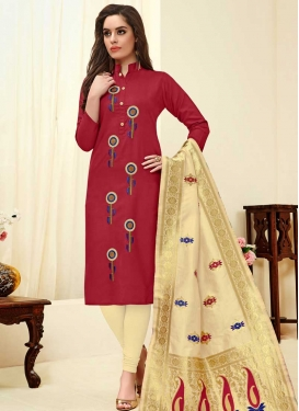 Cream and Maroon Embroidered Work Cotton Trendy Churidar Suit