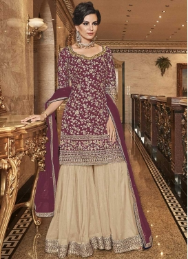 Cream and Maroon Embroidered Work Sharara Salwar Suit