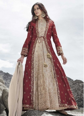 Cream and Maroon Embroidered Work Silk Floor Length Anarkali Salwar Suit