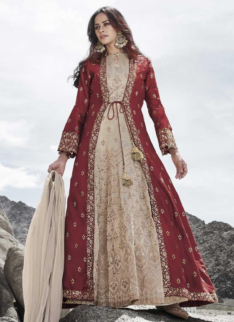 Cream and Maroon Embroidered Work Silk Floor Length Anarkali Salwar Suit