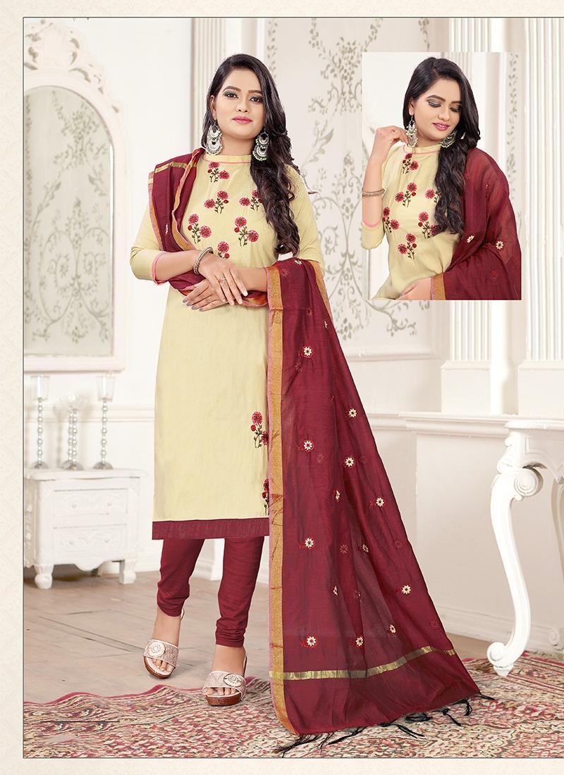 Cream and Maroon Thread Work Trendy Churidar Salwar Suit