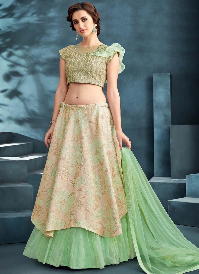 Cream and Mint Green Embroidered Work Trendy Designer Lehenga Choli