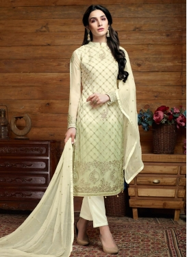 Cream and Mint Green Faux Chiffon Pant Style Pakistani Salwar Suit