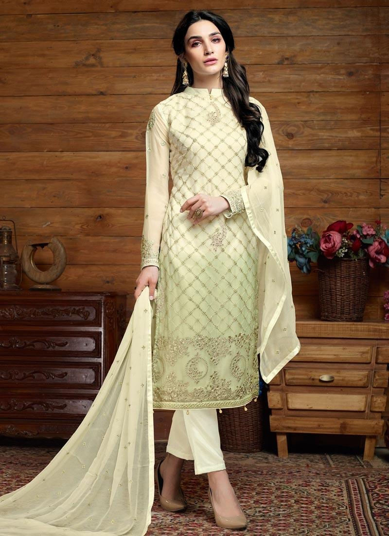 Cream and Mint Green Faux Chiffon Pant Style Pakistani Salwar Suit