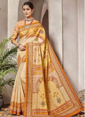 Cream and Mustard Banarasi Silk Classic Saree