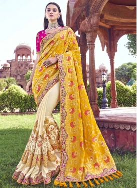 Cream and Mustard Beads Work Banarasi Silk Half N Half Saree