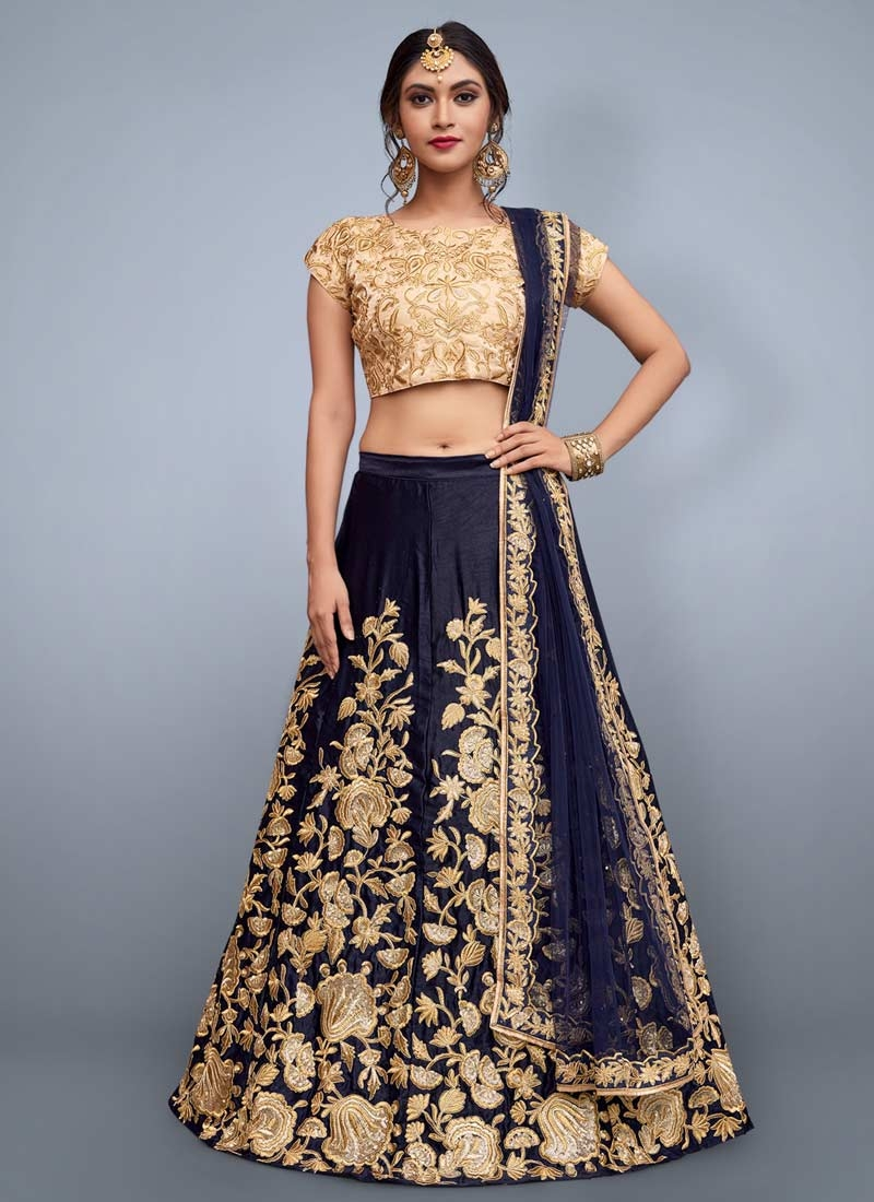 Cream and Navy Blue A Line Lehenga Choli For Festival