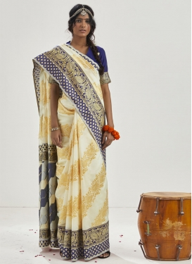 Cream and Navy Blue Art Silk Trendy Classic Saree