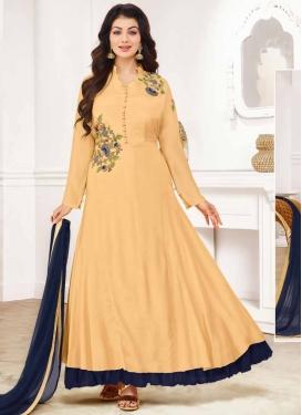 Cream and Navy Blue Ayesha Takia Trendy Salwar Kameez