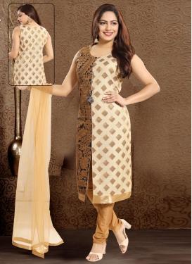 Cream and Navy Blue Banarasi Silk Readymade Churidar Salwar Suit