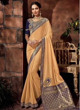 Cream and Navy Blue Embroidered Work Contemporary Saree