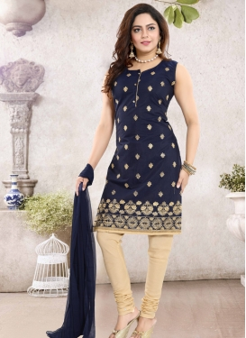 Cream and Navy Blue Readymade Churidar Salwar Suit For Ceremonial
