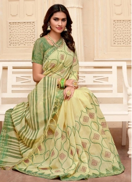 Cream and Olive Embroidered Work Trendy Classic Saree