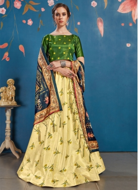 Cream and Olive Print Work A Line Lehenga Choli