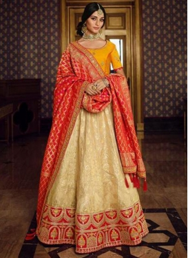 Cream and Orange A Line Lehenga Choli For Bridal