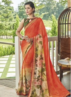 Cream and Orange Chiffon Satin Designer Contemporary Saree For Festival