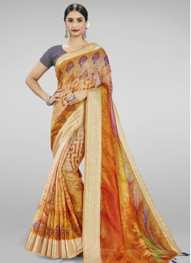 Cream and Orange Contemporary Style Saree