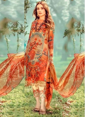 Cream and Orange Cotton Pant Style Pakistani Salwar Kameez For Ceremonial