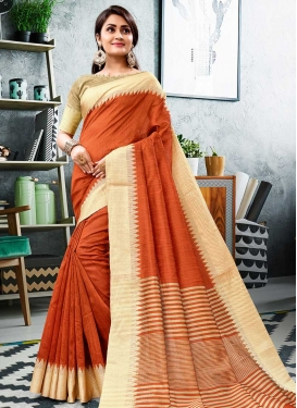Cream and Orange Designer Traditional Saree