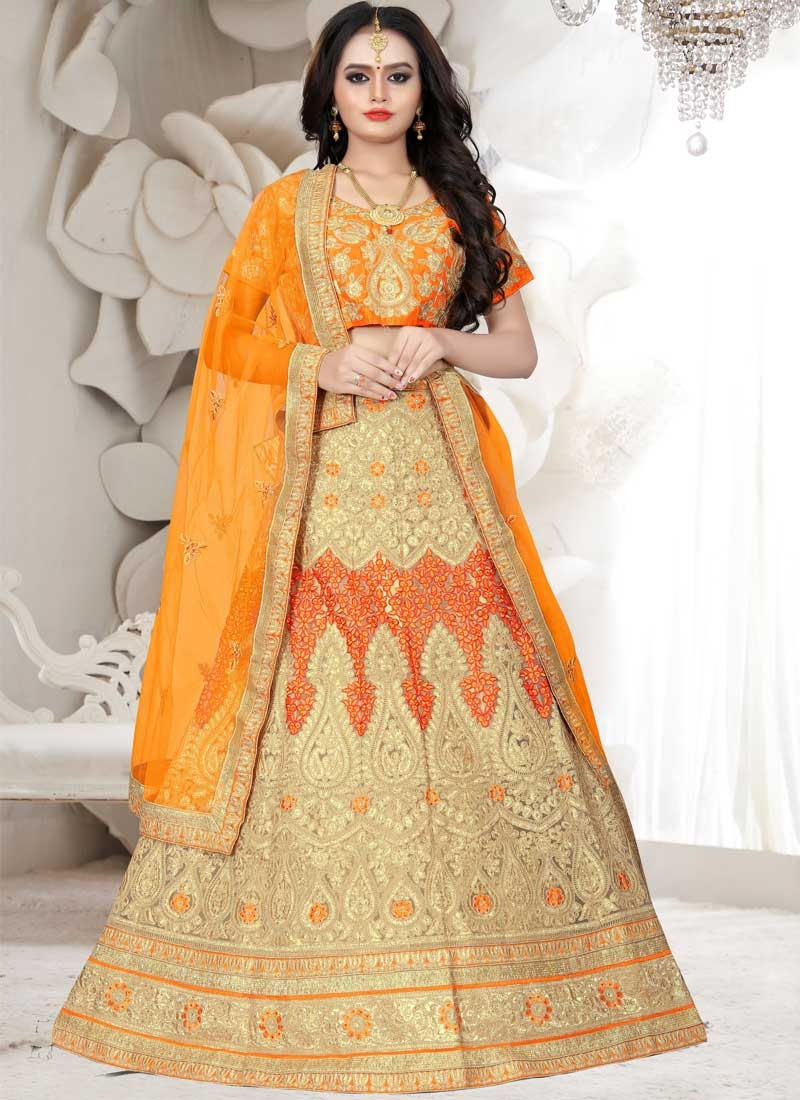 Cream and Orange Embroidered Work A Line Lehenga Choli