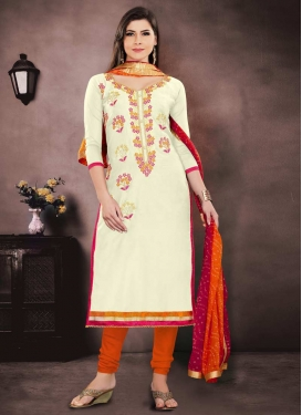 Cream and Orange Embroidered Work Trendy Salwar Kameez