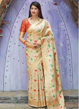 Cream and Orange Thread Work Designer Contemporary Saree