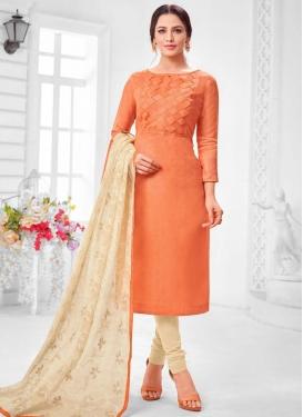 Cream and Orange Trendy Churidar Suit