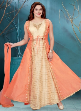 Cream and Peach Chanderi Silk Embroidered Work Readymade Classic Gown