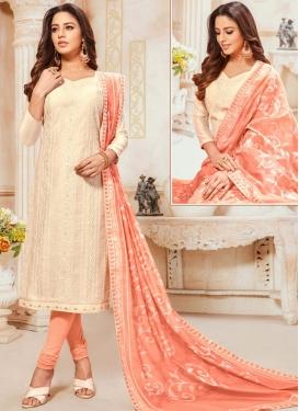 Cream and Peach Embroidered Work Cotton Silk Trendy Churidar Salwar Suit