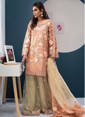 Cream and Peach Palazzo Style Pakistani Salwar Kameez